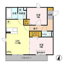 埼玉新都市交通 今羽駅 徒歩9分の賃貸アパート 3階2LDKの間取り