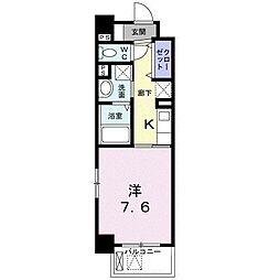 ミルト熊野 3階1Kの間取り
