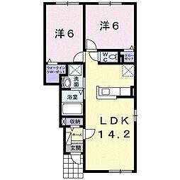 ガーデンサイド 1階2LDKの間取り