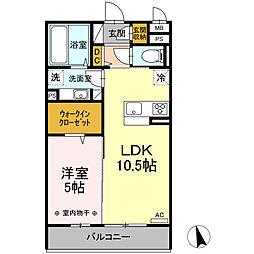 Landini 南仙台 3階1LDKの間取り