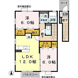 JR桜井線 桜井駅 徒歩15分の賃貸アパート 2階2LDKの間取り