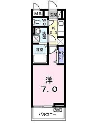 フェリチータ成田 3階1Kの間取り