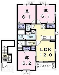 ビ・ホープフル桜ヶ丘 2階3LDKの間取り
