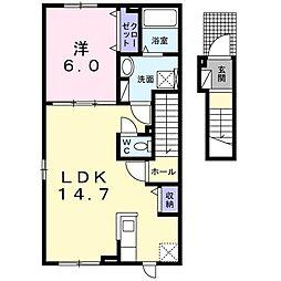 ラ・メール・ブルーII 2階1LDKの間取り