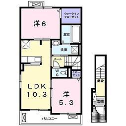 野田アパートA 2階2LDKの間取り