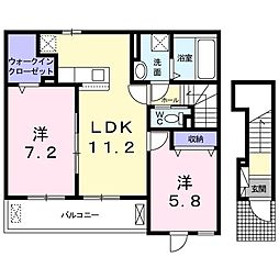 JR関西本線 大和小泉駅 徒歩20分の賃貸アパート 2階2LDKの間取り