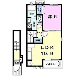 アイリス西沢 弐番館 2階1LDKの間取り