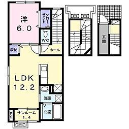 ノーブル笹崎 3階1LDKの間取り