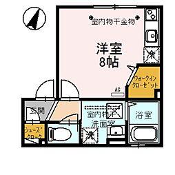 N・DーroomIII 1階ワンルームの間取り