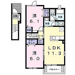 ルーチェI 2階2LDKの間取り