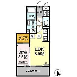 ロイジェントパークス富久山 A 3階1LDKの間取り