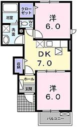 メゾン・コロレII 1階2DKの間取り