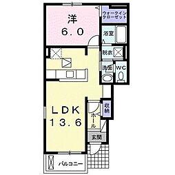 ディア コート ベル 1階1LDKの間取り