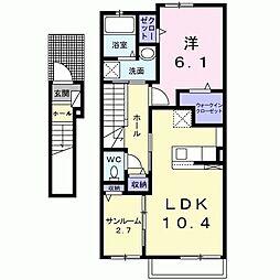 新々田アパート(025859701) 2階1LDKの間取り