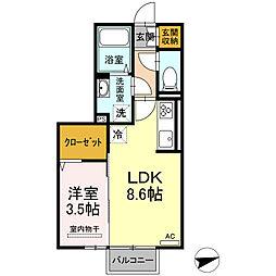 ロイジェントパークス富久山 E 2階1LDKの間取り
