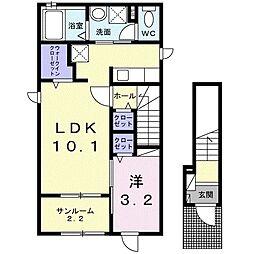 アルスター 2階1LDKの間取り