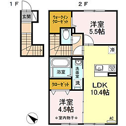 Dーroom桜川 2階2LDKの間取り