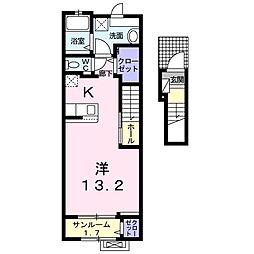 プレミアム22番館 2階1Kの間取り