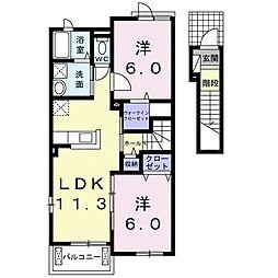 ル・ヴァンヴェール A 2階2LDKの間取り