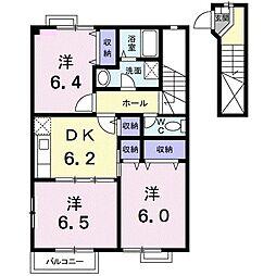 J&T I 2階3DKの間取り
