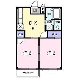 エルディム矢島 2階2DKの間取り