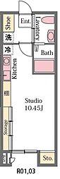 上毛電気鉄道 中央前橋駅 徒歩22分の賃貸アパート 1階ワンルームの間取り