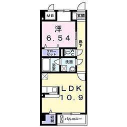 ララシャンス 2階1LDKの間取り