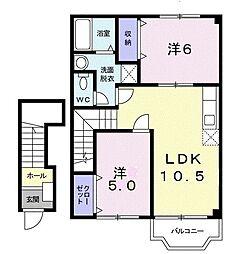 サンハイム・江無田 B 2階2LDKの間取り