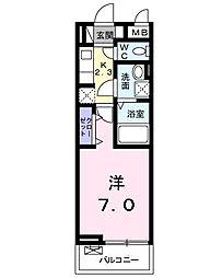 キングキャッスル 弐番館 3階1Kの間取り