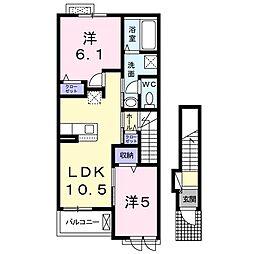 カルム西真上 2階2LDKの間取り