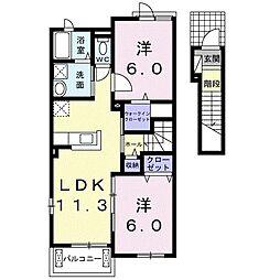サニー・レジデンス・K I 2階2LDKの間取り