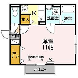 リビングタウン文京 D 2階1Kの間取り