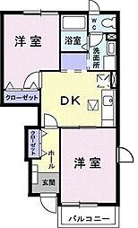 ホ-スブリッジIV 1階2DKの間取り