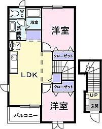 ホ-スブリッジIII 2階2LDKの間取り