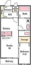 東武東上線 東松山駅 バス10分 パークタウン五領下車 徒歩6分の賃貸アパート 1階1DKの間取り