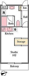 東武東上線 東松山駅 徒歩12分の賃貸アパート 1階ワンルームの間取り