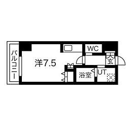 札幌市営東豊線 北13条東駅 徒歩5分の賃貸マンション 11階1Kの間取り