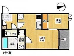 JR山陽本線 広島駅 バス26分 吉島病院入口下車 徒歩4分の賃貸アパート 2階1LDKの間取り