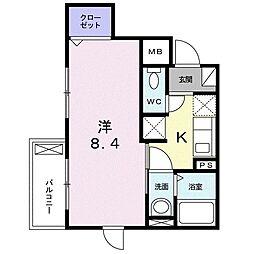 レジデンス小石川 1階1Kの間取り
