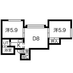 LEE SPACE 南29条 (旧山鼻グランドパレス) 2階1DKの間取り