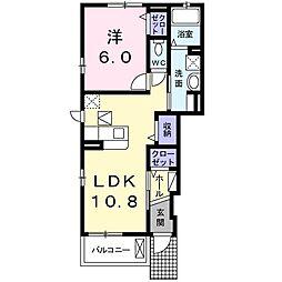 りんりんハウス とちの木 1階1LDKの間取り