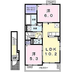 JR仙山線 愛子駅 徒歩21分の賃貸アパート 2階2LDKの間取り