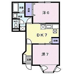 ハイツカトレアII 1階2DKの間取り