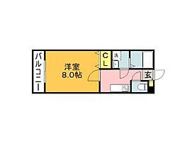 ファインフォレスタ福津 1階1Kの間取り