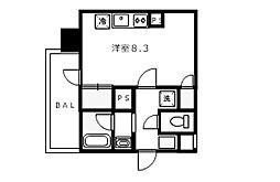 Osaka Metro谷町線 南森町駅 徒歩2分の賃貸マンション 10階ワンルームの間取り