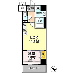 D-room gracious平尾 8階1DKの間取り