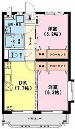 スターマンション・K 3階2DKの間取り