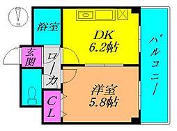 Osaka Metro谷町線 出戸駅 徒歩3分の賃貸マンション 4階1DKの間取り