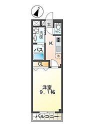 南海空港線 りんくうタウン駅 徒歩18分の賃貸マンション 2階1Kの間取り
