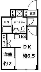 JR仙山線 国見駅 徒歩15分の賃貸マンション 1階1DKの間取り